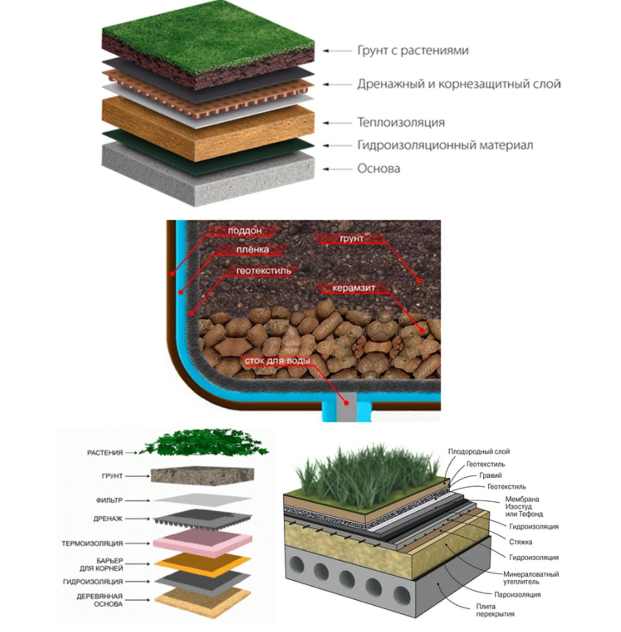ремонт и монтаж зеленой кровли