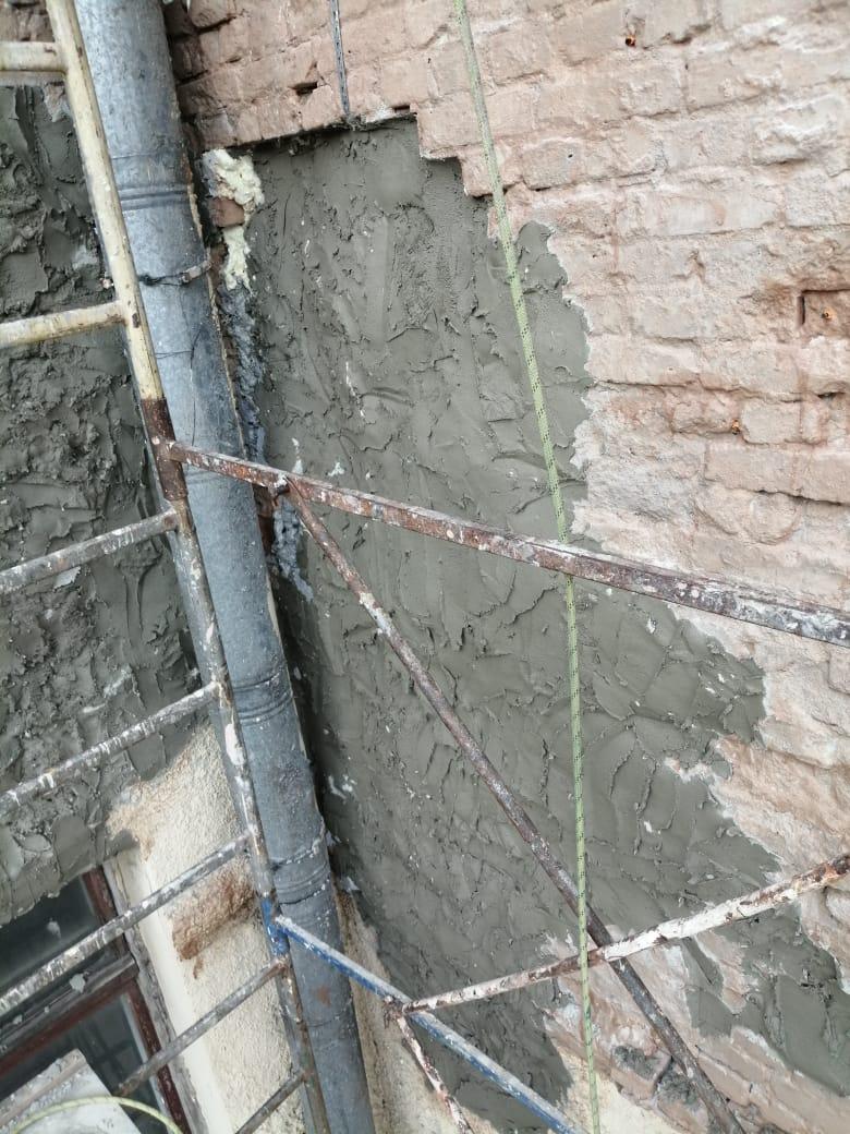ремонт стен фасада
